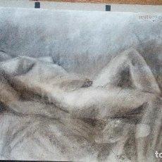Arte: ATIGUO DIBUJO HECHO A MANO EN LAPIZ CARBONILLA CUERPO FEMININO DESNUDO FIRMADO 1X0,7O. Lote 77362809