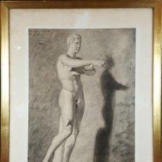 Arte: DIBUJO AL CARBON SOBRE PAPEL. ESCULTURA MASCULINA. MODESTO TEIXIDOR. SIGLO XIX. . Lote 77393113