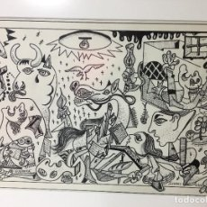 Arte: GUERNICA DE SERRES 10/9/81 DIBUJO A TINTA 28 X 19,50 CM. APROX.. Lote 77431345