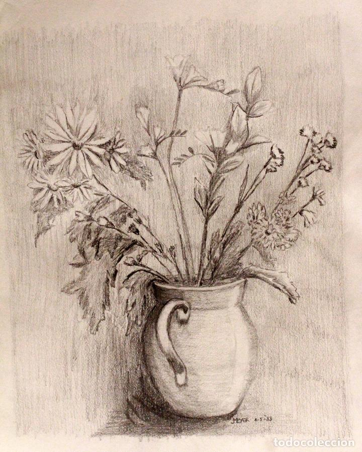 Meyer Jarra Con Flores Dibujo A Lapiz 1983 Sold Through Direct