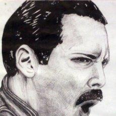 Arte: FREDDIE MERCURY, DIBUJO A BOLI, FIRMADO. CON MARCO DE MADERA. 36X46CM. Lote 77559193