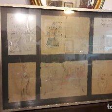 Arte: CARTAS Y DIBUJOS DE EMILIO VARELA A SU AMIGO OSCAR ESPLA, ALICANTE 1931, MED. ENMARCADO 84X109 CM.+. Lote 77580685