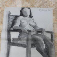 Arte: ESTUDIO CARBON SOBRE PAPEL, MUJER DESNUDA SENTADA, FIRMADO, M. IRANZO REIG. Lote 79360809