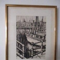 Arte: DIBUJO A TINTA - PUERTO - FIRMA JOSEP FOSSAS ( CANDEVANOL 1940) - DATA 1977. Lote 79960381