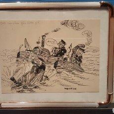 Arte: MUY BUEN DIBUJO TINTA, DE DINAMARCA 1950S . CON MARCO METÁLICO Y CRISTAL. 27X22CM WALDEUR?. Lote 80034385