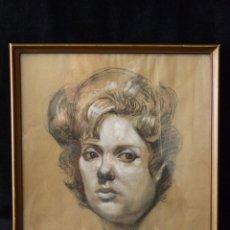 Arte: ANTIGUO DIBUJO A CARBÓN. RETRATO DE SEÑORA. F. BALLESTER MILLÁN 1961. ENMARCADO 32X29 CM.. Lote 80642886