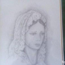 Arte: PRECIOSO DIBUJO A LÁPIZ DE VIRGEN MACARENA CON DEDICATORIA J.SABAS MED.57X47CM INCLUYE MARCO. Lote 80798419