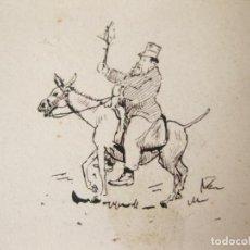 Arte: PEQUEÑA CARICATURA A PLUMILLA DEL SIGLO XIX. SEÑOR CON CHISTERA MONTADO EN UN BURRO.. Lote 81153924