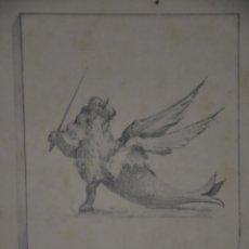 Arte: DIBUJO A LAPIZ , ANTIGUO Y ORIGINAL , POSIBLE BOCETO PARA ESCUDO HERALDICO O EX LIBRIS . Lote 81221004