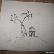 Arte: ANTIGUO DIBUJO A TINTA PALMERAS. Lote 81929752