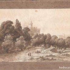 Arte: LUÍS RIGALT (BARCELONA 1814-1894), VISTA DE PERPIÑÁN, FRANCIA, AÑO 1852. DIBUJO SOBRE PAPEL 33X31CM. Lote 82292424