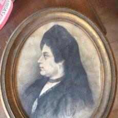 Arte: J. BADIE, 1901 RETRATO DE JOVEN SEÑORA, DIBUJO, CARBÓN SOBRE CARTULINA.. Lote 83020152