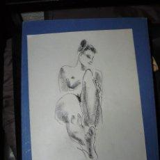 Arte: DIBUJO - CARBONCILLO - FDO. PRUNA - DESNUDO FEMENINO. Lote 176622624