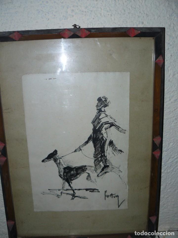 DIBUJO A TINTA - DAMA CON PERRO - FIRMADO FORTUNY (Arte - Dibujos - Contemporáneos siglo XX)