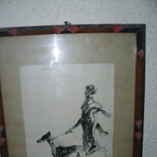 Arte: DIBUJO A TINTA - DAMA CON PERRO - FIRMADO FORTUNY. Lote 83279776