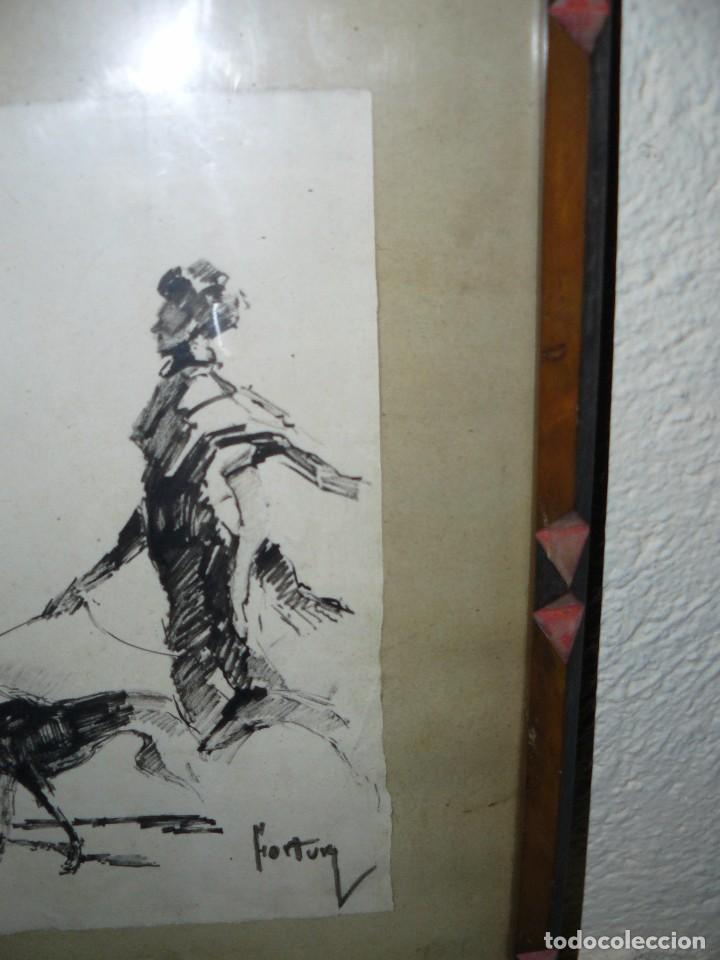 Arte: DIBUJO A TINTA - DAMA CON PERRO - FIRMADO FORTUNY - Foto 2 - 83279776