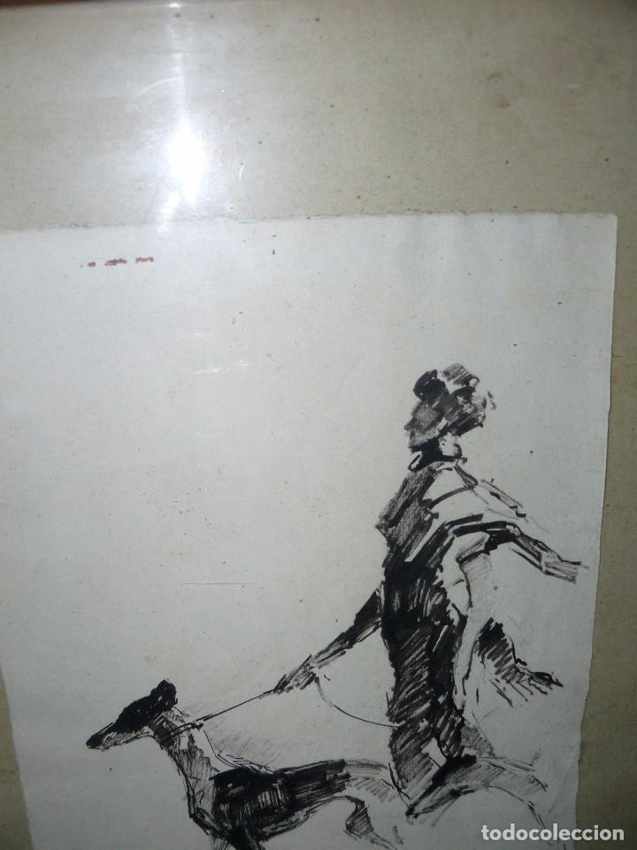 Arte: DIBUJO A TINTA - DAMA CON PERRO - FIRMADO FORTUNY - Foto 3 - 83279776