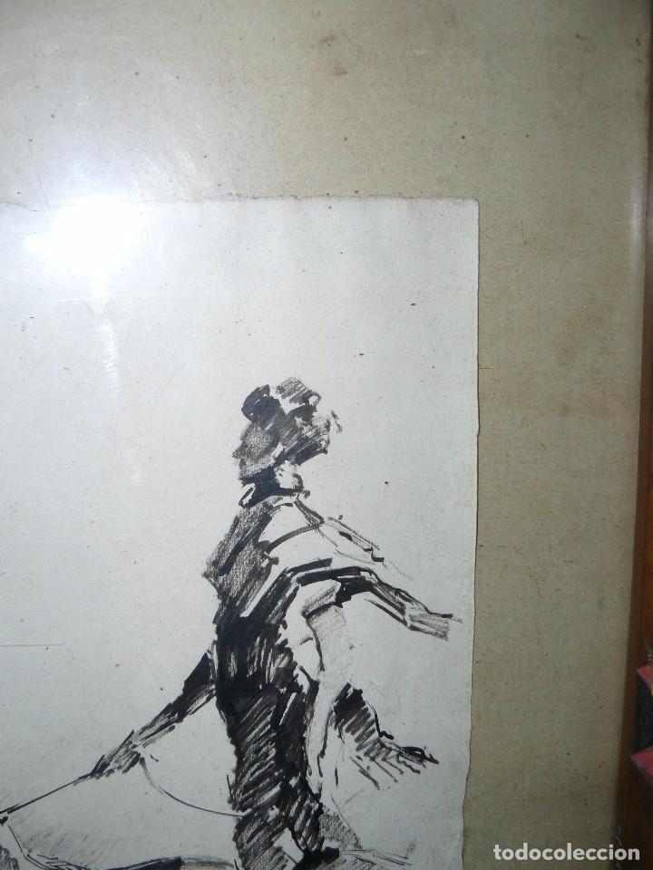 Arte: DIBUJO A TINTA - DAMA CON PERRO - FIRMADO FORTUNY - Foto 5 - 83279776