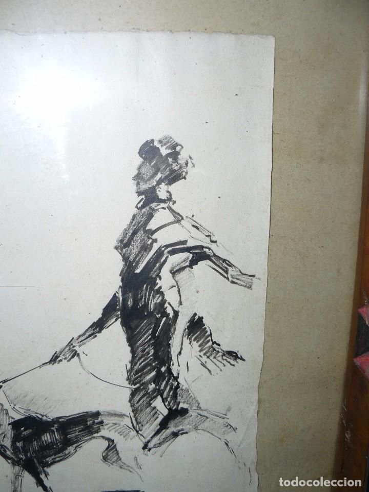 Arte: DIBUJO A TINTA - DAMA CON PERRO - FIRMADO FORTUNY - Foto 6 - 83279776