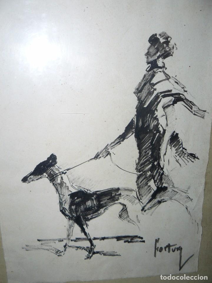 Arte: DIBUJO A TINTA - DAMA CON PERRO - FIRMADO FORTUNY - Foto 7 - 83279776