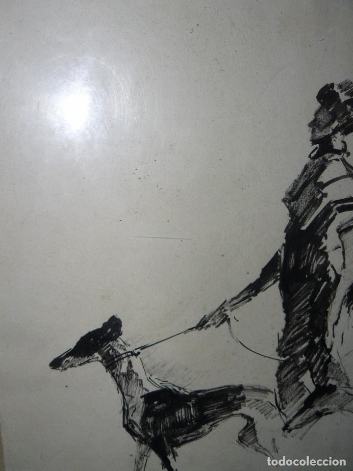 Arte: DIBUJO A TINTA - DAMA CON PERRO - FIRMADO FORTUNY - Foto 8 - 83279776