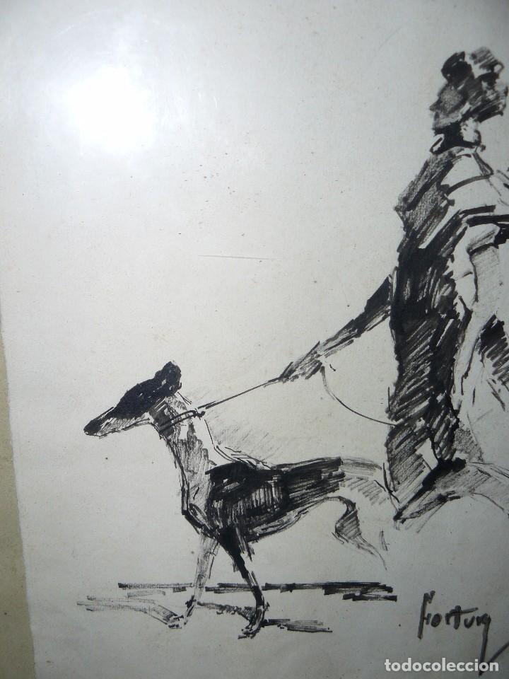 Arte: DIBUJO A TINTA - DAMA CON PERRO - FIRMADO FORTUNY - Foto 9 - 83279776