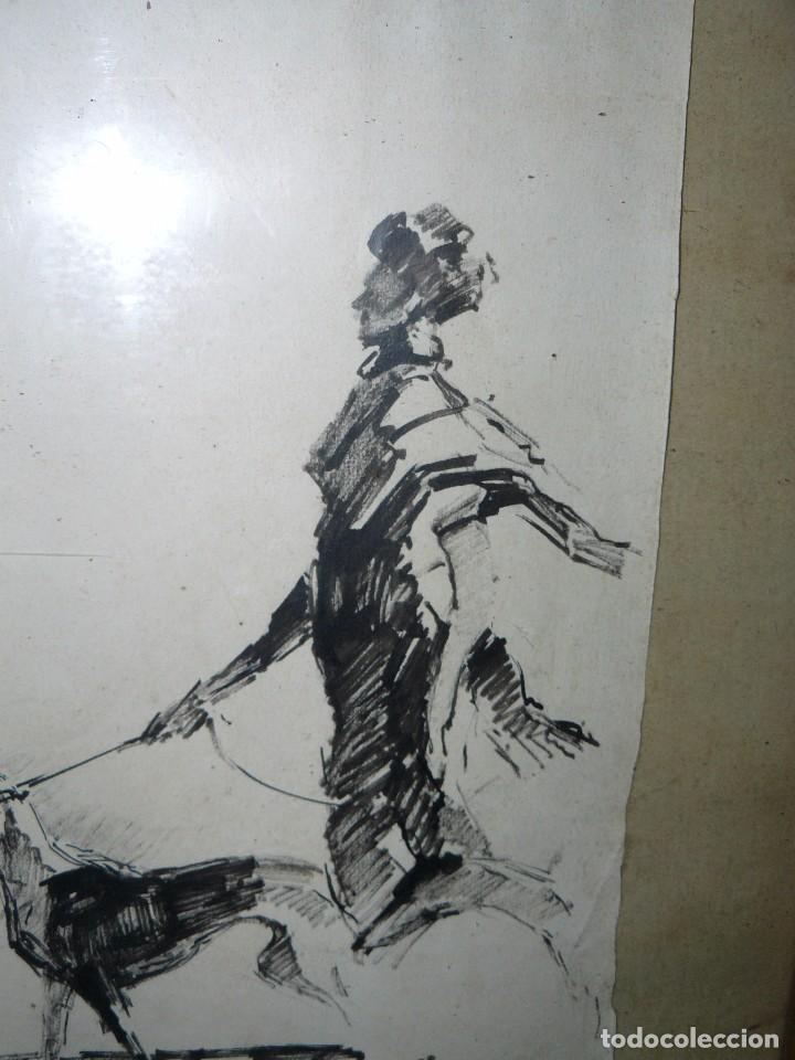 Arte: DIBUJO A TINTA - DAMA CON PERRO - FIRMADO FORTUNY - Foto 11 - 83279776