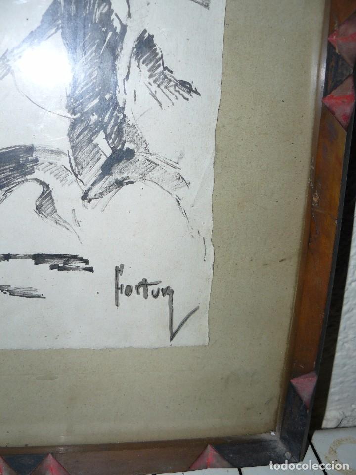 Arte: DIBUJO A TINTA - DAMA CON PERRO - FIRMADO FORTUNY - Foto 12 - 83279776