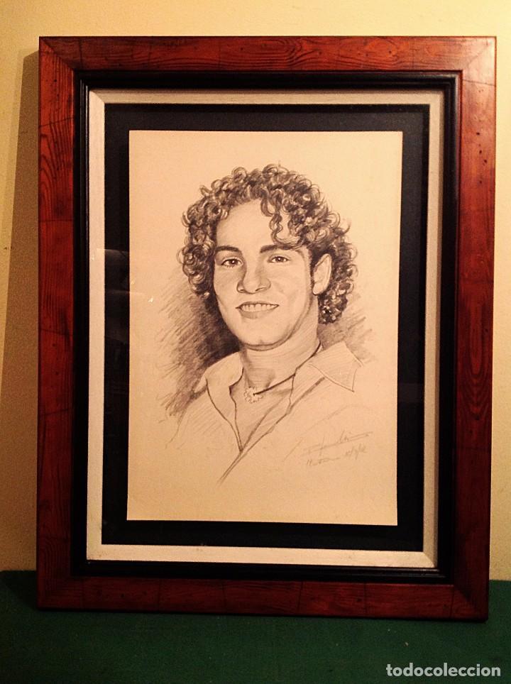 DIBUJO ORIGINAL DEL CANTANTE DAVID BISBAL MARCO MADERA MEDIDAS 69X54CM (Arte - Dibujos - Contemporáneos siglo XX)