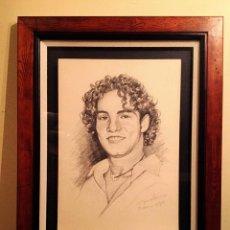 Arte: DIBUJO ORIGINAL DEL CANTANTE DAVID BISBAL MARCO MADERA MEDIDAS 69X54CM. Lote 83297788