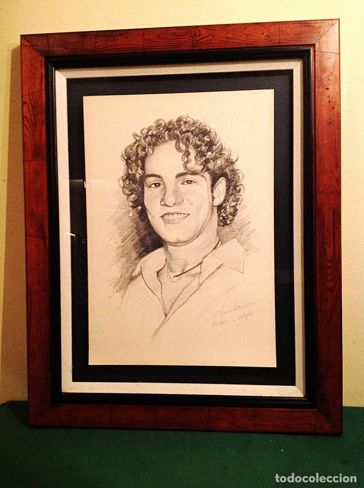 Arte: Dibujo Original Del Cantante David Bisbal Marco Madera Medidas 69X54CM - Foto 2 - 83297788