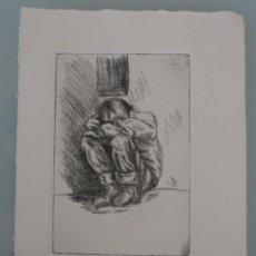 Arte: DIBUJO BOCETO A LAPIZ CARBONCILLO SOBRE PAPEL DE GRABADO: NIÑO PENSANDO – FIRMADO FIRMA FECHA . Lote 83597292