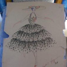 Arte: ORIGINAL BOCETO DE MODA AÑOS 50 . Lote 83756424