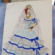 Arte: ORIGINAL BOCETO DE MODA AÑOS 50 . Lote 83758916