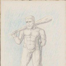 Arte: GUILLERMO PÉREZ VILLALTA . DIBUJO ORIGINAL FIRMADO, TITULADO Y FECHADO 1984 HÉRCULES. Lote 83848488