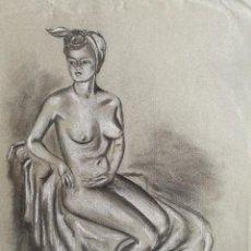 Arte: DIBUJO ORIGINAL CARBONCILLO LOPEZ POZO RAFAEL- (MANRESA 1940 ) . Lote 83886056