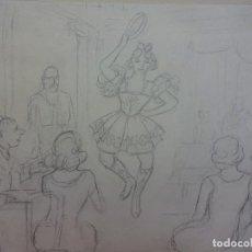 Arte: R. RIBAS RIUS. DIBUJO DE TEMÁTICA DANZA. BAILARINA . LÁPIZ ORIGINAL. MED: 31 X 21 CTMS.. Lote 84348504