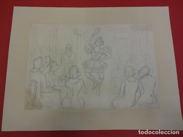 Arte: R. RIBAS RIUS. Dibujo de temática danza. Bailarina . Lápiz original. Med: 31 x 21 ctms. - Foto 3 - 84348504