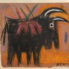 Arte: MANEL ROVIRA CERA SOBRE PAPEL TORO FIRMADO Y FECHADO 1988. Lote 84400640