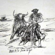 Arte: ROBERTO DOMINGO - DIBUJO ORIGINAL, FIRMADO. TOROS, TAUROMAQUIA. 27 X 21 CM . Lote 84681324