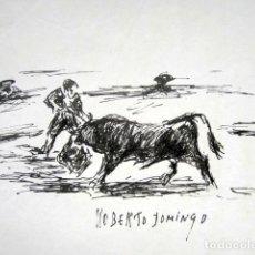 Arte: ROBERTO DOMINGO - DIBUJO ORIGINAL, FIRMADO. TOROS, TAUROMAQUIA. 28 X 21 CM . Lote 84681416