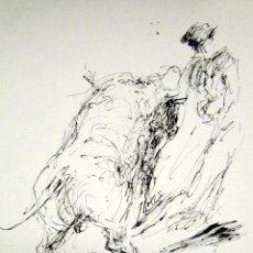 Arte: ROBERTO DOMINGO - DIBUJO ORIGINAL, FIRMADO. TOROS, TAUROMAQUIA. 15 X 13,5 CM . Lote 84681596