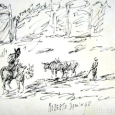 Arte: ROBERTO DOMINGO - DIBUJO ORIGINAL, FIRMADO. TOROS, TAUROMAQUIA. 18,2 X 11,5 CM . Lote 84681656