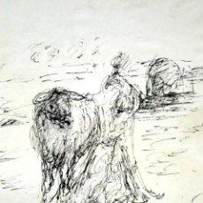Arte: ROBERTO DOMINGO - DIBUJO ORIGINAL, FIRMADO. TOROS, TAUROMAQUIA. 16 X 12 CM . Lote 84681708