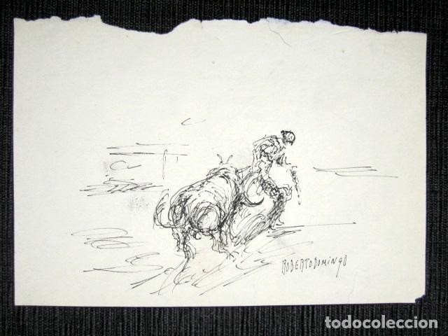 Arte: ROBERTO DOMINGO - DIBUJO ORIGINAL, FIRMADO. TOROS, TAUROMAQUIA. 18,5 X 12,5 CM - Foto 2 - 84681764