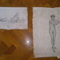 Arte: DOS DIBUJOS FEMENINOS AL CARBÓN DE S.SOLER FINALES DEL S.XIX. Lote 84725812