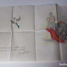 Arte: DIBUJO A LAPIZ Y A COLOR (DEDICATORIA DE AMISTAD) TEMÁTICA TORERO FIRMA ILEGIBLE / AUTOR DESCONOCIDO. Lote 84829944