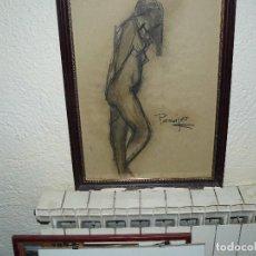 Arte: DIBUJO A CARBONCILLO - FIRMADO PASAJES - DESNUDO FEMENINO. Lote 84880616