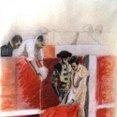Arte: CUADRO DIBUJO CARBONCILLO COLOREADO: TOROS TORERO MOJANDO LA MULETA - FIRMADO. Lote 85124684