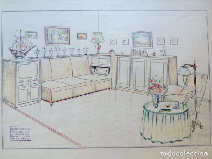 DIBUJO ORIGINAL AÑOS 40 / HABITACION VINTAGE / MARGALEF - BARCELONA / IDEAL DECORACION (Arte - Dibujos - Contemporáneos siglo XX)